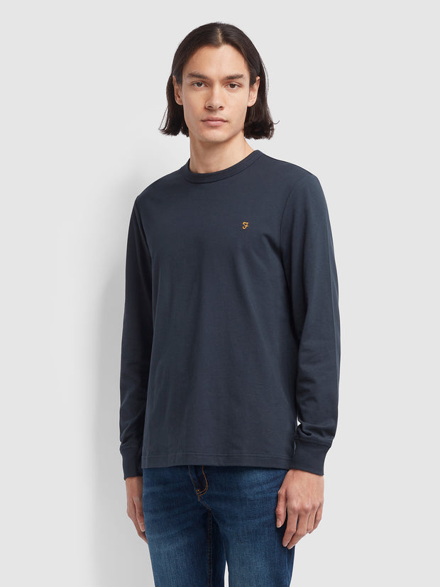 Worth Slim Fit Long Sleeve T-Shirt In True Navy