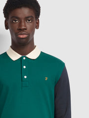 Hearsall Long Sleeve Polo Shirt In Emerald Green