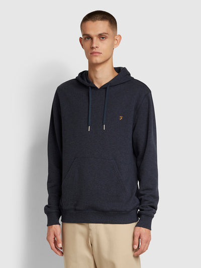 Zain Cotton Hoodie In True Navy Marl