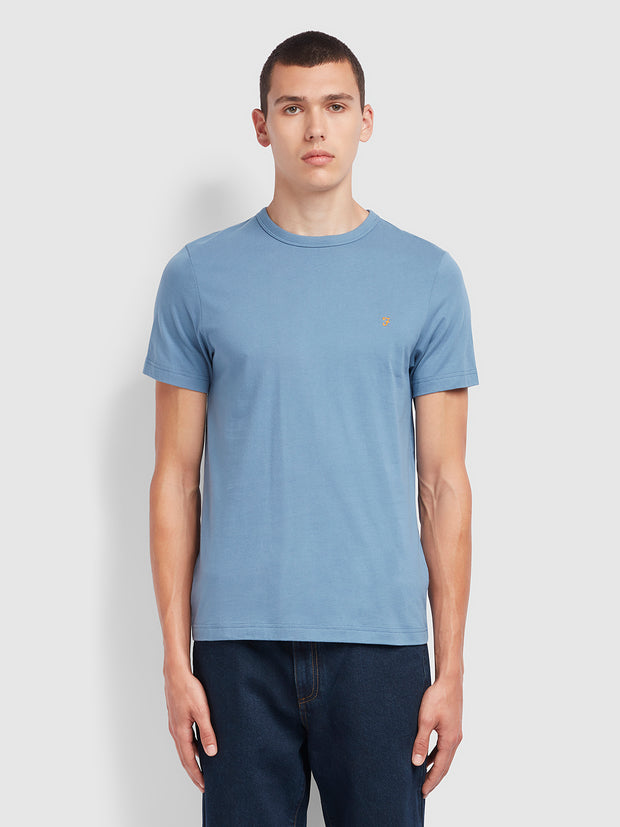 Danny 100 Slim Fit Organic Cotton T-Shirt In Wedgewood Blue