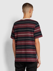 Alfred Striped T-Shirt In Farah Raspberry