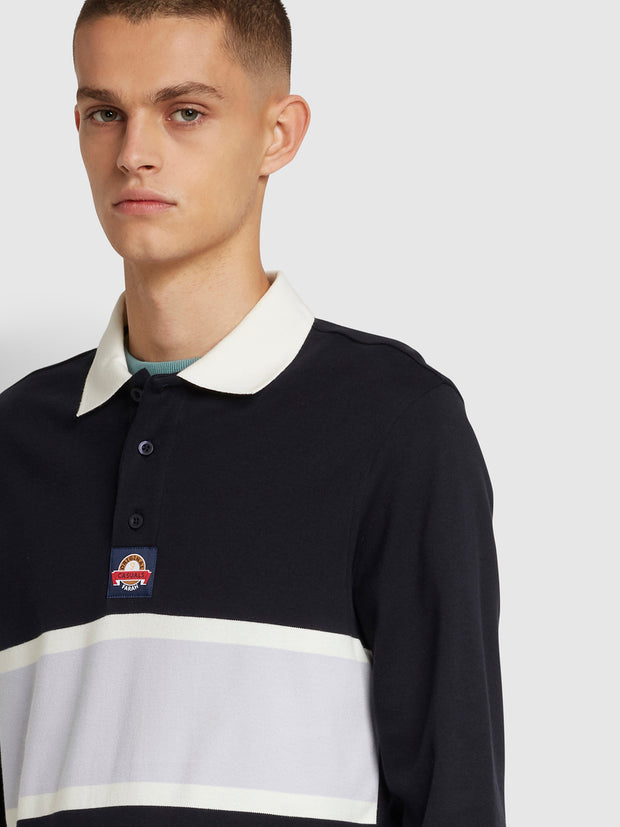 Wanstead Long Sleeve Striped Polo Shirt In True Navy