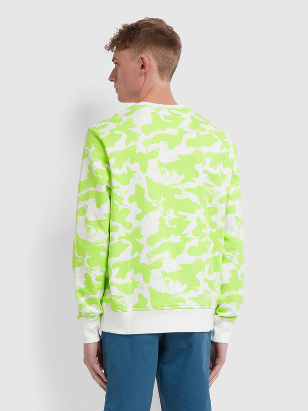 Monterey Cotton Camo Print Crew Neck Sweatshirt In Acid Green