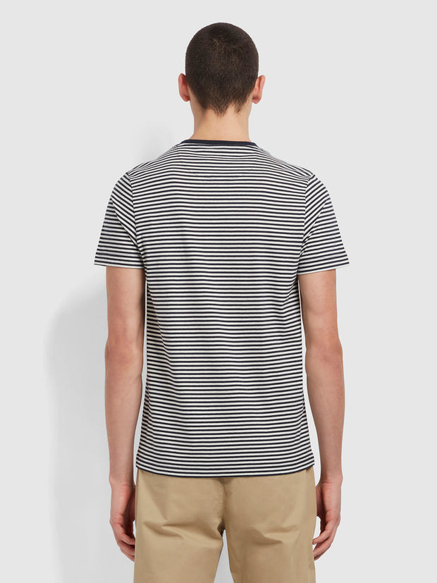 Daytona Slim Fit Striped Organic Cotton T-Shirt In True Navy