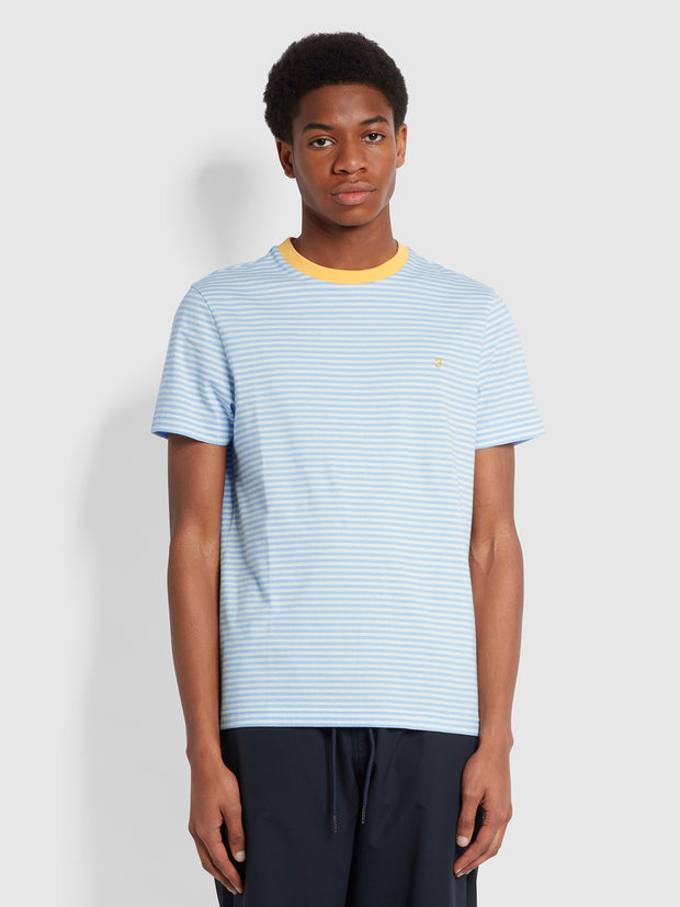 Daytona Slim Fit Striped Organic Cotton T-Shirt In Ocean Blue