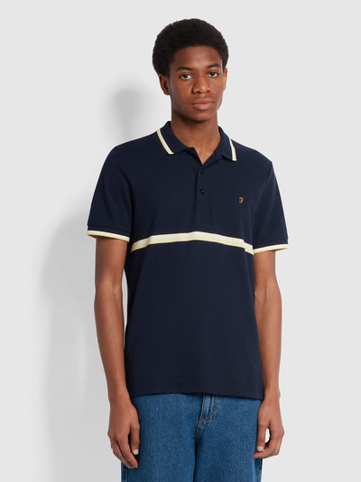 Everglade Slim Fit Organic Cotton Polo Shirt In True Navy
