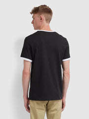 Groves Slim Fit Ringer T-Shirt In Deep Black