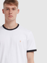 Groves Slim Fit Ringer T-Shirt In White