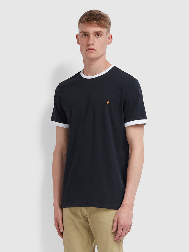 Groves Slim Fit Ringer T-Shirt In True Navy