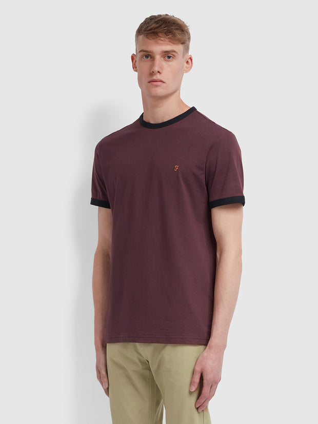 Groves Slim Fit Ringer T-Shirt In Farah Red
