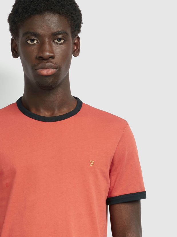 Groves Slim Fit Ringer T-Shirt In Farah Russet
