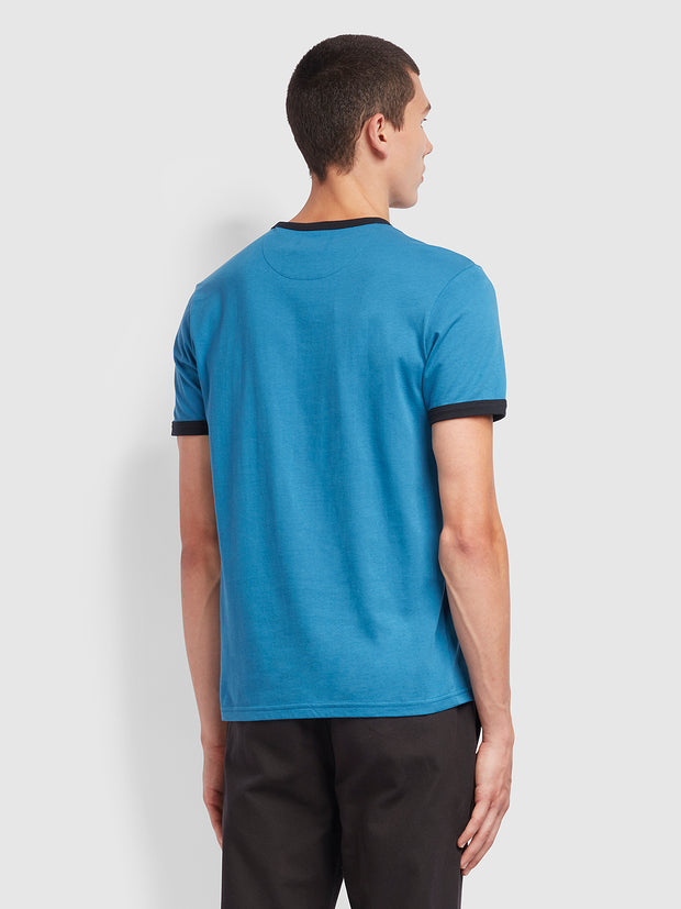 Groves Slim Fit Ringer T-Shirt In Farah Blue