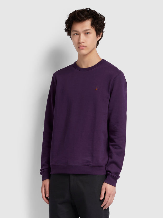 Pickwell Cotton Crew Neck Sweatshirt In Bright Purple
