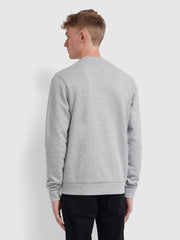 Tim Cotton Crew Neck Sweatshirt In Light Grey Marl