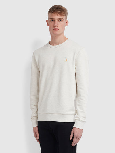 Tim Cotton Crew Neck Sweatshirt In Chalk Marl