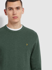 Tim Cotton Crew Neck Sweatshirt In Deep Olive Marl