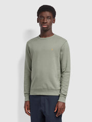 Tim Cotton Crew Neck Sweatshirt In Fern Green