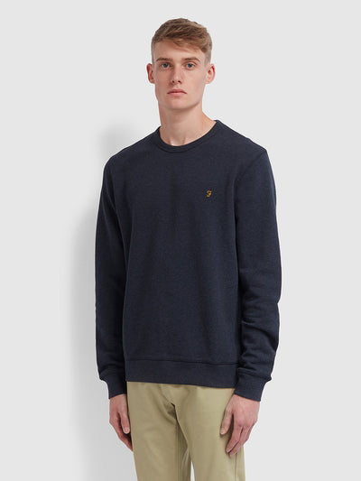 Tim Cotton Crew Neck Sweatshirt In True Navy Marl