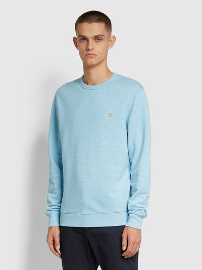 Tim Cotton Crew Neck Sweatshirt In Farah Azure Marl