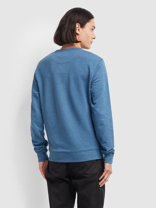 Tim Cotton Crew Neck Sweatshirt In Dusky Blue Marl