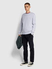 Tim Cotton Crew Neck Sweatshirt In Washed Lilac