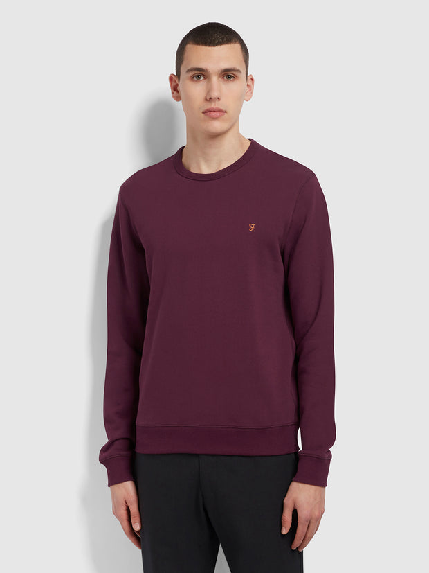 Tim Cotton Crew Neck Sweatshirt In Farah Raspberry