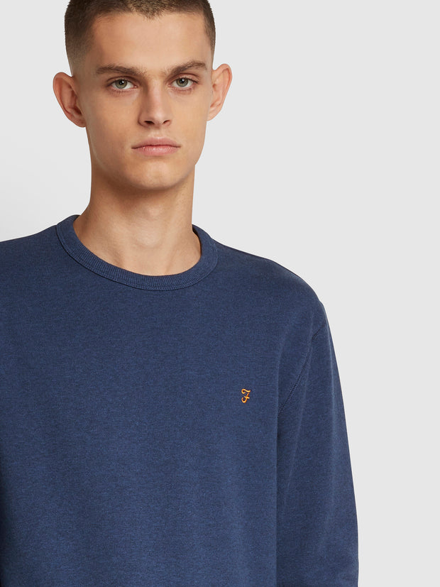 Tim Cotton Crew Neck Sweatshirt In Ultramarine Marl