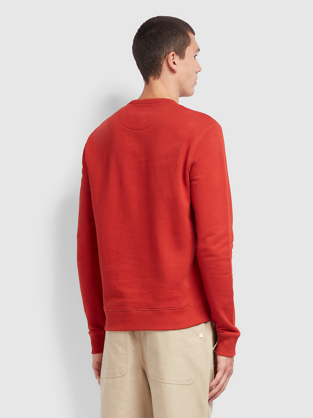 Tim Cotton Crew Neck Sweatshirt In Farah Russet