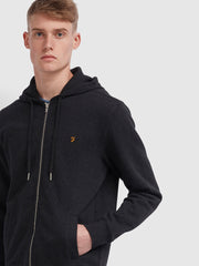Kyle Cotton Zip Through Hoodie In Black Marl
