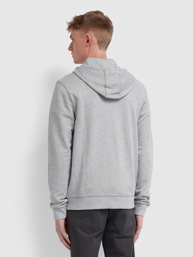 Kyle Cotton Zip Through Hoodie In Light Grey Marl