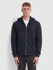 Kyle Cotton Zip Through Hoodie In True Navy Marl