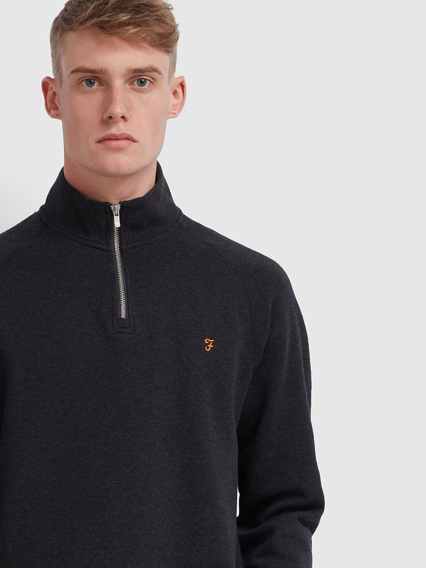 Jim Cotton Quarter Zip Sweatshirt In Black Marl