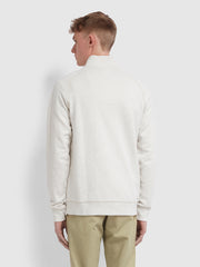 Jim Cotton Quarter Zip Sweatshirt In Chalk Marl