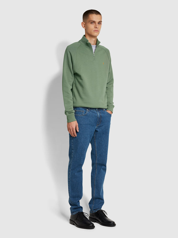 Jim Cotton Quarter Zip Sweatshirt In Fern Green
