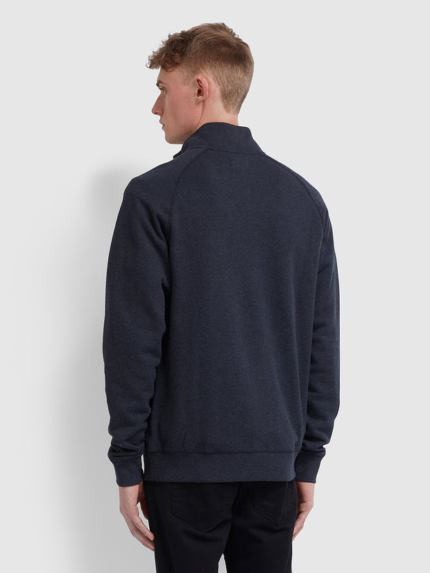 Jim Cotton Quarter Zip Sweatshirt In True Navy Marl