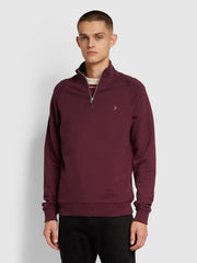 Jim Cotton Quarter Zip Sweatshirt In Farah Raspberry