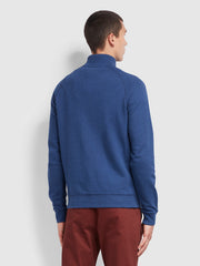 Jim Cotton Quarter Zip Sweatshirt In Ultramarine Marl