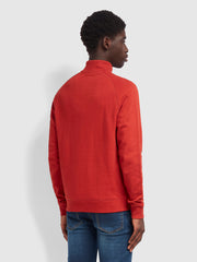 Jim Cotton Quarter Zip Sweatshirt In Farah Russet