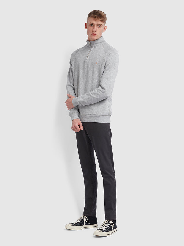 Jim Cotton Quarter Zip Sweatshirt In Light Grey Marl