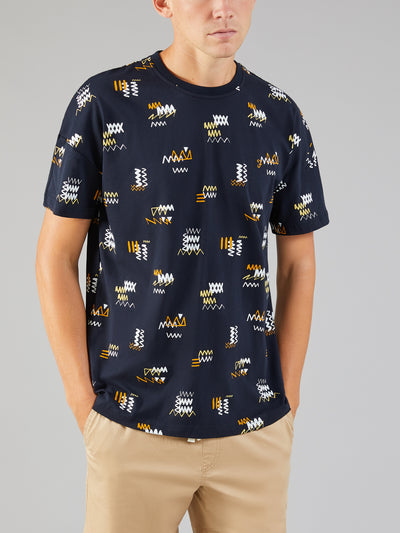 LONDON SCRIBBLE PRINT T-SHIRT IN TRUE NAVY