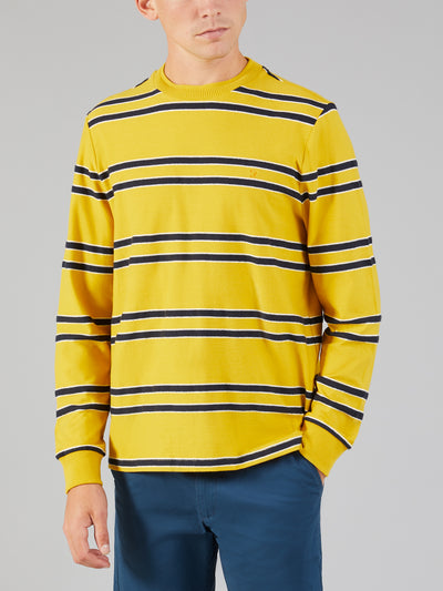 SHOOM LONG SLEEVE STRIPED T-SHIRT IN STAR YELLOW