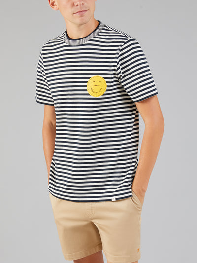 Sunrise Striped T-Shirt In True Navy