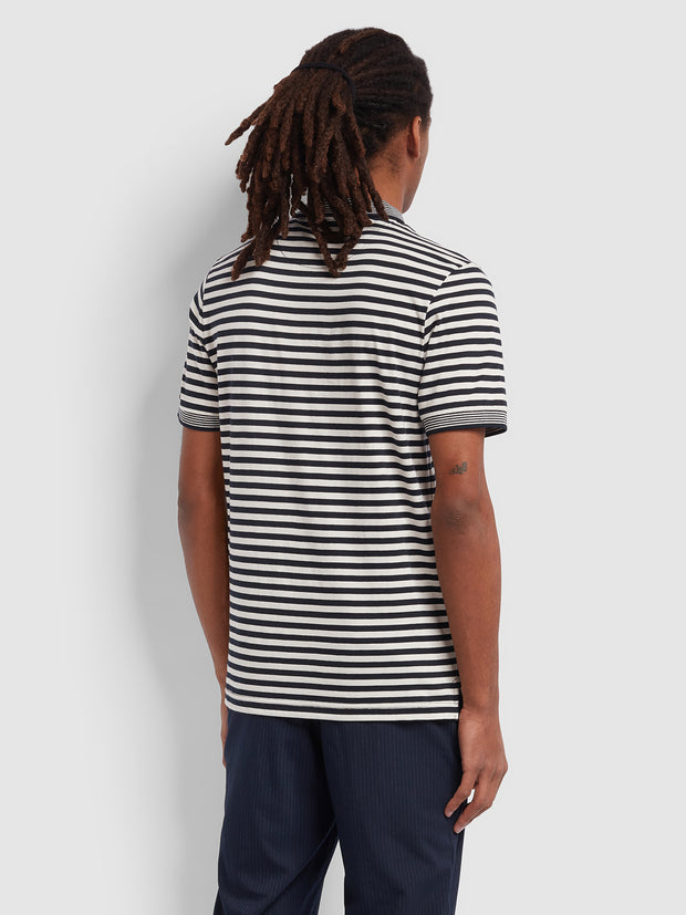 Mesa Slim Fit Striped Polo Shirt In True Navy