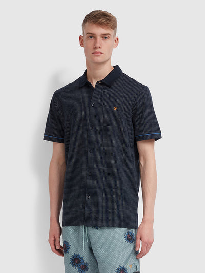 Nino Slim Fit Short Sleeve Shirt In True Navy