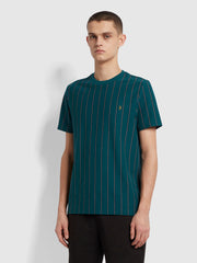 Beatty Slim Fit Striped T-Shirt In Dark Teal