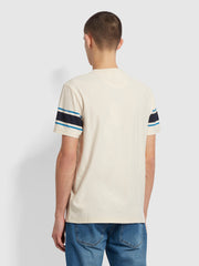 Spielberg Slim Fit Striped Sleeve T-Shirt In Cream