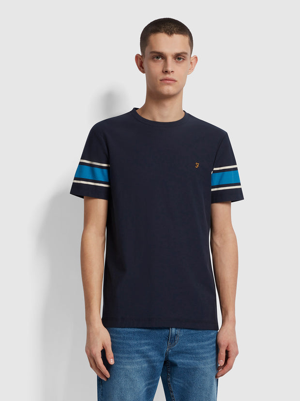 Spielberg Slim Fit Striped Sleeve T-Shirt In True Navy