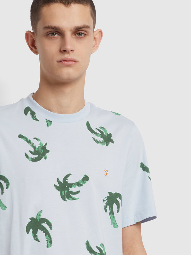 Elvido Palm Print T-Shirt In Blue Nickle