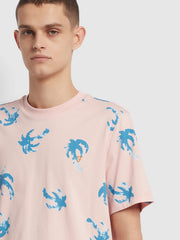 Elvido Palm Print T-Shirt In Clyde Pink