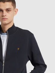 Bowmont Cotton Full Zip Sweatshirt In True Navy